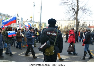26 February 2017, Moscow, Russia. Liberal anti Putin and pro Ukrainian, pro Western opposition march in memory of the killed politician Boris Nemtsov.