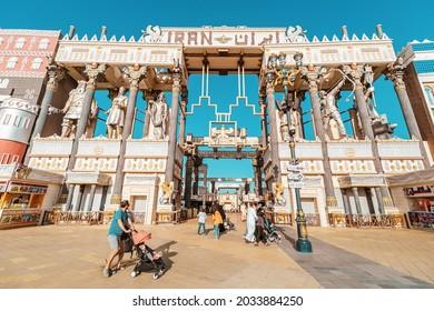 26 February 2021, UAE, Dubai: The Iranian Pavilion at the Global Village Exhibition Center and Cultural Fair