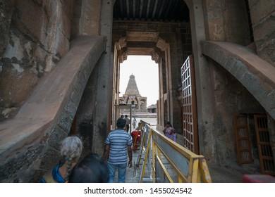 26 JUL 18 : People walking to Brihadeeswara Temple or Big Temple in Thanjavur, Tamil Nadu - South India