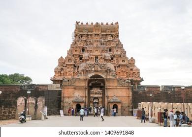 26 JUL 18 : Unidentify Indian people walking to Brihadeeswara Temple or Big Temple in Thanjavur, Tamil Nadu - South India
