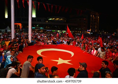 26 July 2016, Istanbul - TURKEY: After the military coup in Turkey continues to keep democracy seizures occur in people with flag