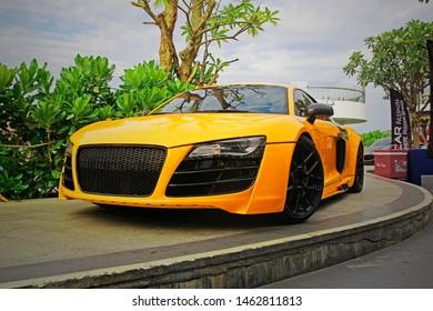 26 July 2019 - Vung Tau City, Vietnam: Head of 2014 Audi R8 on sidewalk