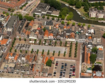26 June 2017, Purmerend, Holland. Aerial view of plaza Koemarkt in the city center. It is a square with a lot of bars, restaurants and terraces and classic, historical dutch buildings.