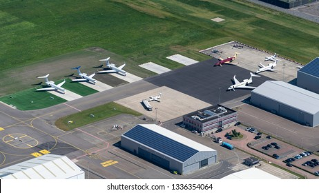26 June 2018, Rotterdam, Holland. Aerial view of  private jets of the rich and famous. Airplanes like Gulfstream, Bombardier and Embraer at the platform at Rotterdam The Hague Airport.