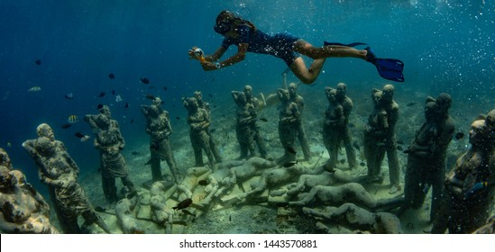 "26 March 2019 near island Gilli, Indonesia. An underwater sculpture in Indonesia ""Neste"" will take divers to a hauntingly beautiful place below the surface"