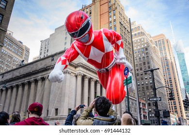 26 November 2015, NEW YORK CITY, NY,  Red Power Ranger balloon is flown in Macy's  Annual Thanksgiving Day Parade New York.