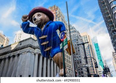 26 November 2015, NEW YORK CITY, NY, Paddington Bear balloon is flown in Macy's Annual Thanksgiving Day Parade New York.