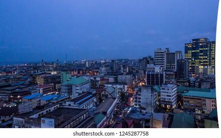 26 November 2018-Lagos Nigeria:  Night view of busy Lagos streets in Marina, Lagos Nigeria