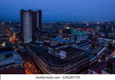 26 November 2018-Lagos Nigeria:  Night view of busy Lagos streets in Marina, Lagos Nigeria