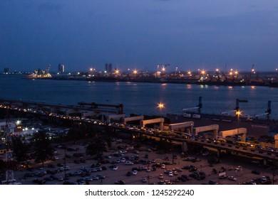 26 November 2018-Lagos, Nigeria: Night view of lagoon front in Marina, Lagos Nigeria.