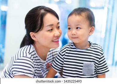2.6 years old baby boy and Mother in First day for go to school.Happy loving family.Asian mother and baby boy taking, kissing and hugging