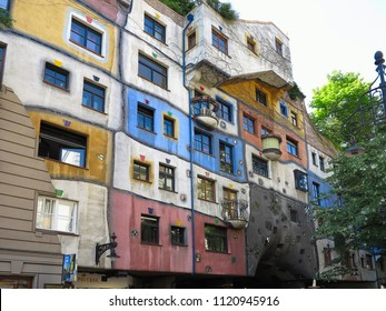 26.05.2018, Vienna, Austria: Hundertwasser House is one of the most Vienna's architectural highlights, art and vintage shopping zone combine with a bar, restaurant and numerous souvenir stores
