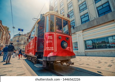 26/05/2019 Istambul, Turkey, Crowded Taksim Istiklal Street with red and nostalgic historical Beyoglu tram between Taksim route - Tunnel, the most popular destination in Istanbul