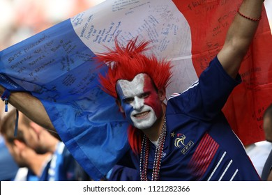 26.06.2018. MOSCOW, Russian:FRANCE FANS ON THE STANDS  in  the Fifa World Cup Russia 2018, Group C, football match between DENMARK V FRANCE in Luzhniki Stadium MOSCOW.