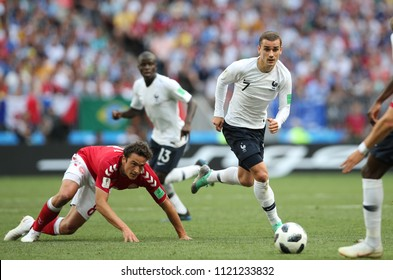 26.06.2018. MOSCOW, Russian:THOMAS DELANEY, ANTOINE GRIEZMANN  in action during the Fifa World Cup Russia 2018, Group C, football match between DENMARK V FRANCE in Luzhniki Stadium MOSCOW.