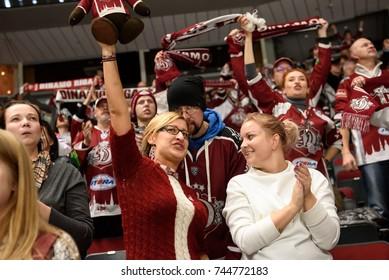 26.10.2017. RIGA, LATVIA. Dinamo Riga fans celebrates win after  Kontinental Hockey League (KHL) 2017/2018 season game Dinamo Riga vs. Omsk Avangard.