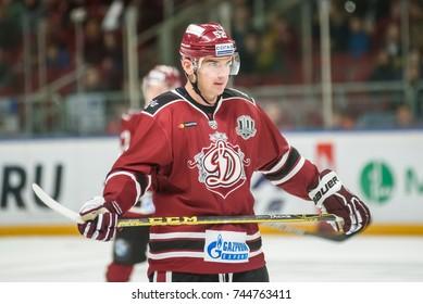 26.10.2017. RIGA, LATVIA. Nikolai Zherdev, during Kontinental Hockey League (KHL) 2017/2018 season game Dinamo Riga vs. Omsk Avangard.