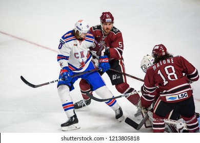 26.10.2018. RIGA, LATVIA.  Kontinental Hockey League (KHL) 2018/2019 season game Dinamo Riga vs. SKA Saint Petersburg at Arena Riga.