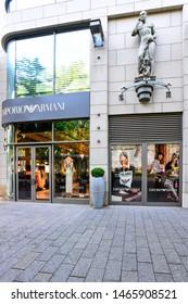 Düsseldorf,Germany-May 26,2018:HM luxury fashion store exterior.Giorgio Armani S.p.A. is an Italian luxury fashion house