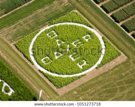 26-6-2017, Swifterbant, Holland. Aerial view of logo Bayer cut out in green cropfield.