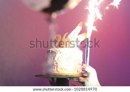 26th Birthday Cake With Fireworks