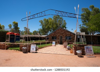 26th December 2018, Curtin Springs NT Australia: View of entry and sign of Curtin Springs cattle station in central Australia