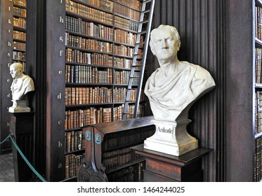 26th July 2019, Dublin. Bust of Aristotle from sculptor Peter Scheemakers in 1743 in The Long Room of the Old Library at Trinity College Dublin, home to The Book of Kells and 20,000 rare books.