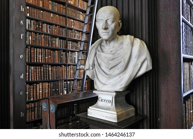 26th July 2019, Dublin. Bust of Cicero from sculptor Peter Scheemakers in 1743 in The Long Room of the Old Library at Trinity College Dublin, home to The Book of Kells and 20,000 rare books.