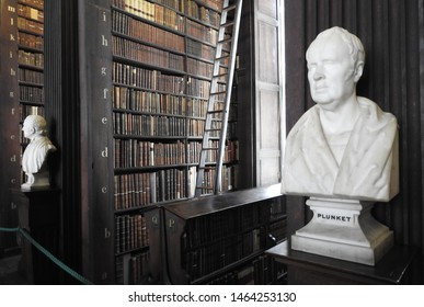 26th July 2019, Dublin. Bust of Plunket from sculptor Christopher Moore acquired in 1954 in The Long Room of the Old Library at Trinity College Dublin, home to The Book of Kells and 20,000 books.