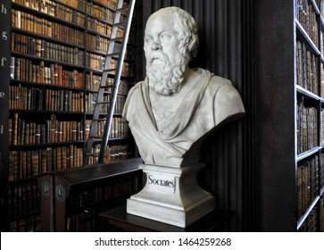 26th July 2019, Dublin. Bust of Socrates from sculptor Peter Scheemakers in 1743 in The Long Room of the Old Library at Trinity College Dublin, home to The Book of Kells and 20,000 rare books.