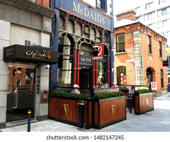 26th July 2019, Dublin, Ireland. The outside of McDaids traditional Irish pub, located in Harry Street, off Grafton Street.