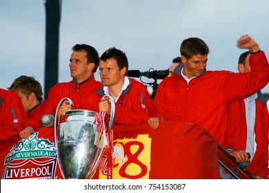 26th May 2005, Liverpool, UK. The Liverpool FC team bus after they won the Champions League cup in Istanbul. Steven Gerrard, John Arne Riise and Dietmar Hamman are visible