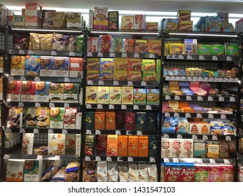 26th May 2019 at 3Hree Sixty supermarket, Hong Kong. variety brands of  healthy food such as oats, flakes, muesli etc are displayed on shelves for sales in 3Hree Sixty Supermarket, Kowloon.