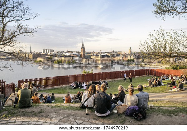 26th May 2020: Group of people enjoying the good weather outdoors in Stockholm during the Corona virus outbreak