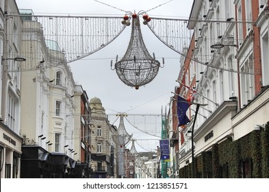 26th October 2018 Dublin. Christmas lights erected in Grafton Street Dublin in October before Halloween holiday.