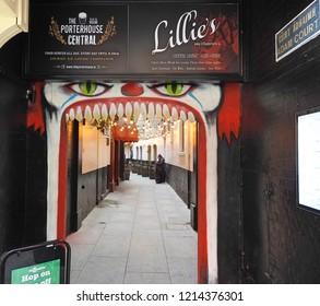 26th October 2018 Dublin. Entrance into Dublin's most renowned and prestigious nightclub, Lillie's Bordello, on Grafton Street.