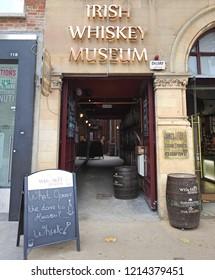 26th October 2018 Dublin. Entrance into the Irish Whiskey Museum on Grafton Street.