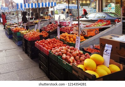 26th October 2018 Dublin. Fruit and Vegetable stalls in Dublin's famous open air market in Moore Street, Dublin City Centre.