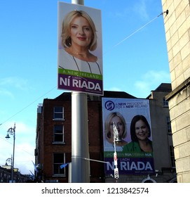 26th October 2018 Dublin. Large banner of Sinn Féin's President Mary Lou McDonald and Irish Presidential candidate and MEP Liadh Ní Riada above the Sinn Fein office and shop in Parnell Square.