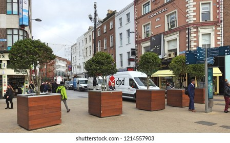 26th October 2018 Dublin. Large plant holders at the entrance to Grafton Street to act as barriers against motorised vehicle terrorist attacks.