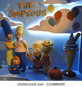 26th October 2018 Dublin. Waxworks of the Simpson cartoon TV series characters.
