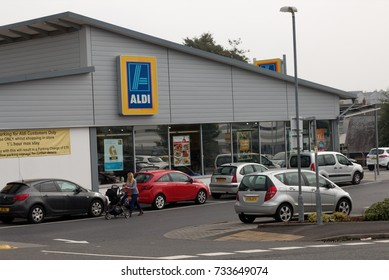 26th September 2017- The Aldi supermarket in the town centre at Llanelli, Carmarthenshire, Wales, UK.