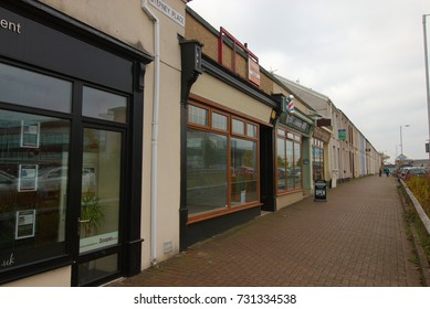 26th September 2017- Terraced shops and houses in Stepney Place, Llanelli, Carmarthenshire, Wales, UK.