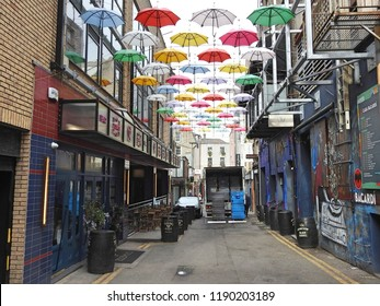 26th September 2018, Dublin, Ireland. Anne Street, off Grafton Street, in Dublin City Centre with colorful umbrella display overhead
