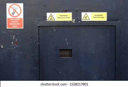 26th September 2019, Dublin, Ireland. Prisoner entry and exit prison gate and small hatch door of Arbour Hill Prison in Stoneybatter, a prison for male sex offenders.