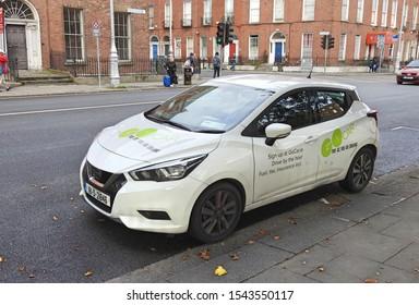 26th September 2019, Dublin, Ireland.   A Pay As You Go hourly rental GO CAR in Dublin City Centre.