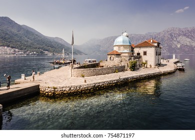 27 august 2017 delightful landscape, Island of Virgin on reef (Gospa od Skrpela Island), PERAST, MONTENEGRO.