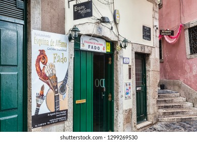 27 February 2018: Lisbon, Portugal - Restaurant advertising Fado, the traditional Portuguese musical genre, in the Alfama District.