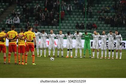 27 FEBRUARY 2018 - WARSAW, POLAND: Polish Extra League LOTTO Ekstraklasa football match Legia Warszawa - Jagiellonia Bialystoko/p minute of silence