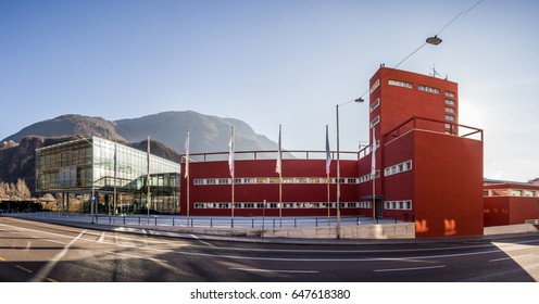 27 January 2017, Bozen, Italy: EURAC Research centre, old and new building near Taverla river.